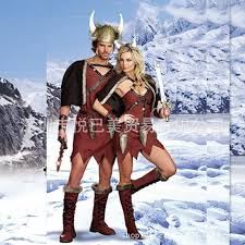 Viking Halloween Costume Women Viking Warrior Pirate Halloween Costume Dress Clothes Cattle Devil