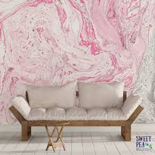Pink Removable Wallpaper by Pink Hues Paint Swirl Wall Mural Marble Abstract Removable