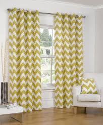 Lined Curtains Chevron Striped Ochre Ring Top Eyelet Cotton Lined Readymade