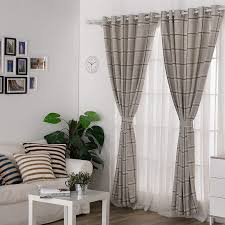 Contemporary Window Curtains Linen Cotton And Polyester Blended Plaid Contemporary Window Curtains