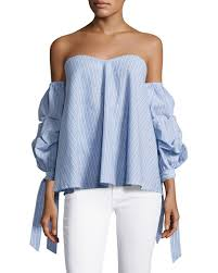 light blue off the shoulder top aiden striped off the shoulder top light blue