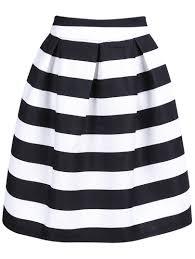 knee length skirt black striped knee length skirt shein sheinside