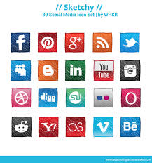 free sketch style social media icons