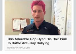 Anti Gay Meme - this adorable cop dyed his hair pink to battle anti gay bullying