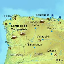 Portugal Spain Map by Camino De Santiago Touring Holidays