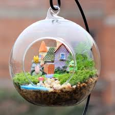 mini aegean sea micro houses resin garden ornament for plant pots