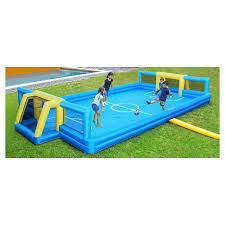 sportspower inflatable soccer field 2 goals play outside kids toy