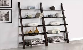 white ladder shelves white elfa 18 oleander and palm leaning