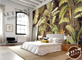 custom retro textile wallcoverings banana leaf painting for the