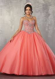 coral pink quinceanera dresses beaded strapless quinceanera dress by mori vizcaya 89171 abc