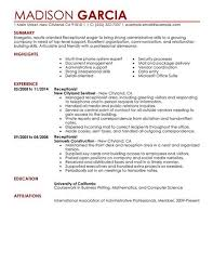 receptionist job description resume