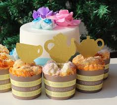 16 glitter gold tea party teapots tea cup cupcake toppers baby