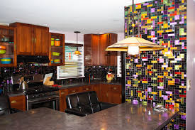 new york residence multi colored dichroic glass tile kitchen