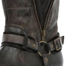 biker boots men river island dark brown distressed biker boots in brown for men lyst