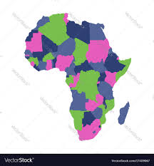 africa continent map political map of africa continent in four colors vector image