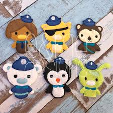 nautical animal finger puppet set embroidery design 4x4 or