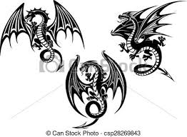 eps vector of dragons with outstretched wings tattoo design