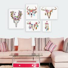online buy wholesale dream catcher art from china dream catcher modern watercolor deer head skull poster print a4 dream catcher feather wall art picture nordic hippie