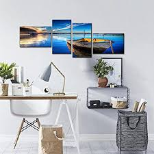 home decor dropship 4 piece scene of sea boat nature beauty wall art canvas paintings