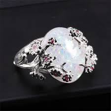 big stone rings images Ywospx elegant silver color plum flower fire opal rings for women fash jpg