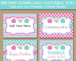 mint and coral buffet cards candy buffet labels digital