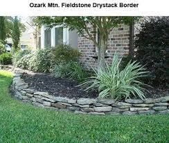 Rock Borders For Gardens Stacked Flower Bed Edging