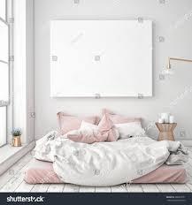 Empty White Bedroom Mock Blank Poster On Wall Bedroom Stock Illustration 366873551