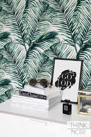 Temporary Wallpaper Uk Green Watercolor Monstera U0026palm Leaf Self Adhesive By Bohowalls