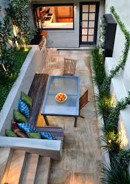 patio ideas deck with six wooden reclining chairs with cushions