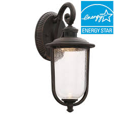 Battery Operated Wall Sconces Home Depot Hampton Bay Perdido Rust Outdoor Led Motion Sensor Wall Mount