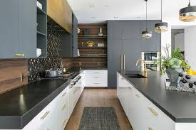 thin black kitchen cabinet handles white flat front drawers with brass pulls topped with thick