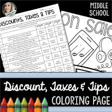 percent discount taxes and tips coloring worksheet by lindsay perro