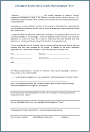 volunteer report template background check consent form sle templates resume exles