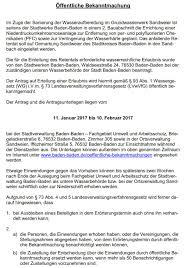 Stadt Baden Baden Seifermann Einspruch Gegen Pfc Konzentrateinleitung Vom Wasserwerk