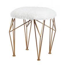 geo white faux fur stool u2013 distinctive merchandise