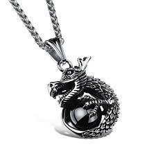 man charm necklace images Vintage silver charm dragon design pendant necklace for man rock jpg