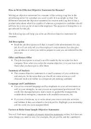Exles Of Resumes Resume Good Objective Statements For - resume objective statements sle