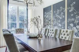 Chinoiserie Dining Room by Charcoal Gray Chinoiserie Fabric Art Panels Transitional