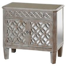 distressed wood 2 door chest with mirrored accents and 1 drawer