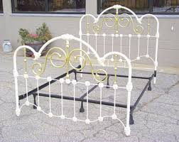 Antique White Metal Bed Frame Antique Iron Bed Etsy