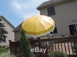 vtg aluminum vinyl patio umbrella fringe crank tilting 8 u0027 floral