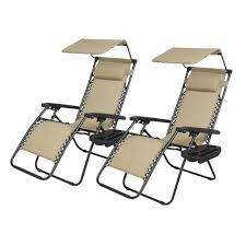 Lounge Patio Chairs New 2 Pcs Zero Gravity Chair Lounge Patio Chairs With Canopy Cup