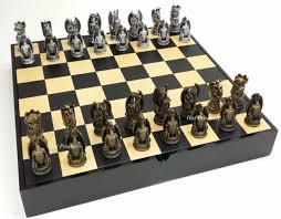 fantasy chess set gothic dragon fantasy chess set black maple wood storage board 16