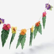 Hawaian Decorations Amazon Com 4 Strands Hibiscus Flowers U0026 Leaves Garland Luau Party
