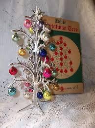 vintage shiny brite plastic table tree w mini glass