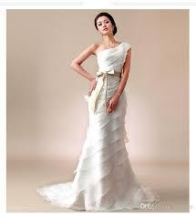 one shoulder wedding dress simple sweetheart one shoulder wedding dresses wave details tiered