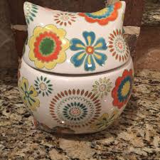 pier 1 imports hand painted owl cookie jar canister flowers euc