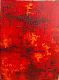 Red Paint by Abstract Art Extra Large Huge Red Orange Oil Original Painting