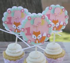 1st birthday party favors fox birthday cupcake toppers fox cupcake toppers 1st