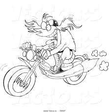 vector of a cartoon motorcycler coloring page outline by